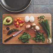 chopping board with food